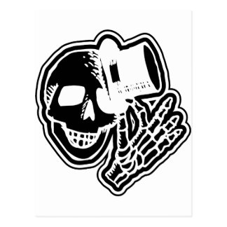 Skull Top Hat Gentleman Negative B&W Postcard