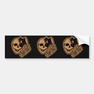 Skull Top Hat Gentleman Orange Bumper Sticker