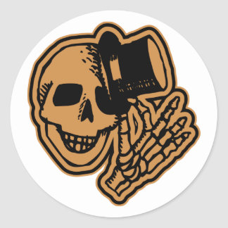 Skull Top Hat Gentleman Orange Classic Round Sticker