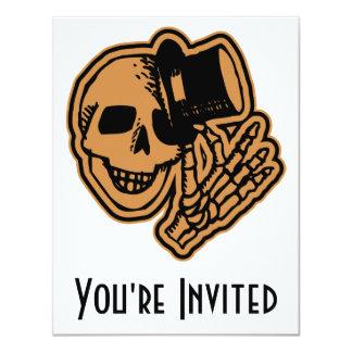 Skull Top Hat Gentleman Orange 4.25x5.5 Paper Invitation Card