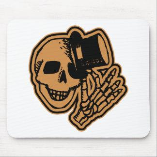 Skull Top Hat Gentleman Orange Mouse Pad