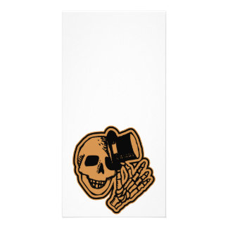 Skull Top Hat Gentleman Orange Photo Greeting Card