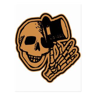 Skull Top Hat Gentleman Orange Postcard