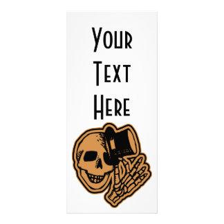 Skull Top Hat Gentleman Orange Rack Card