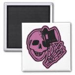 Skull Top Hat Gentleman Pink Fridge Magnets