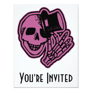 Skull Top Hat Gentleman Pink 4.25x5.5 Paper Invitation Card