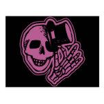 Skull Top Hat Gentleman Pink Postcard