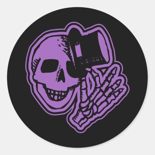Skull Top Hat Gentleman Purple Classic Round Sticker