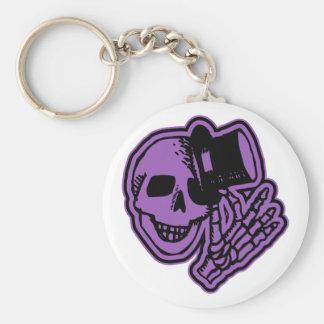 Skull Top Hat Gentleman Purple Keychain