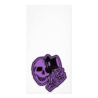 Skull Top Hat Gentleman Purple Photo Card