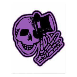 Skull Top Hat Gentleman Purple Postcard