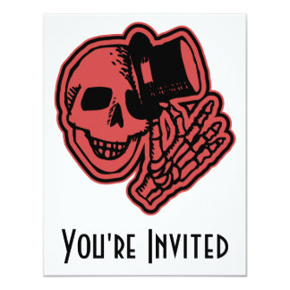 Skull Top Hat Gentleman Red 4.25x5.5 Paper Invitation Card