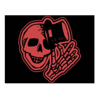 Skull Top Hat Gentleman Red Postcard
