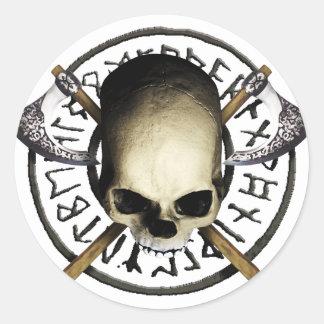 skull tribal Axe A Classic Round Sticker