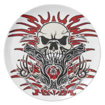Skull tribal dinner plate