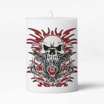 Skull tribal pillar candle