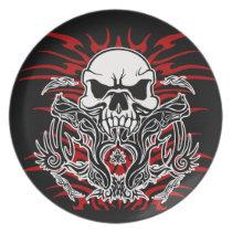Skull tribal plate