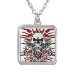 Skull tribal silver plated necklace