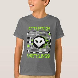 Skull TV 'ATTENTION EARTHLINGS!' kid's basic grey T-Shirt
