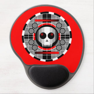 Skull TV Round gel mousepad red