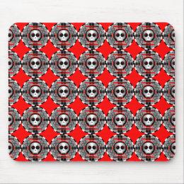 Skull TV Round multi mousepad red