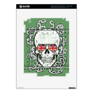 Skull, Union Jack sunglasses and chains Decals For iPad 3