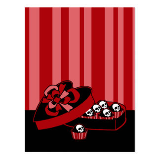 Skull Valentine Candy Postcard
