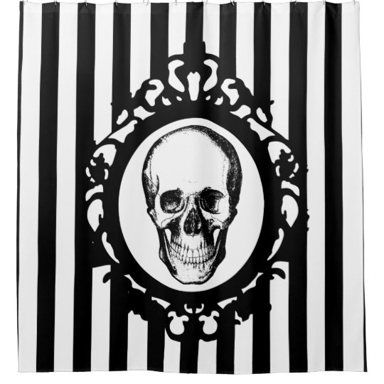 Skull Victorian Cameo Black White Stripes Print Shower Curtain