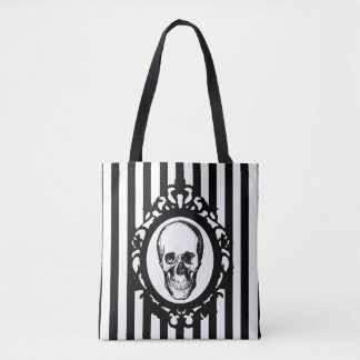 Skull Victorian Cameo Black & White Stripes Print Tote Bag