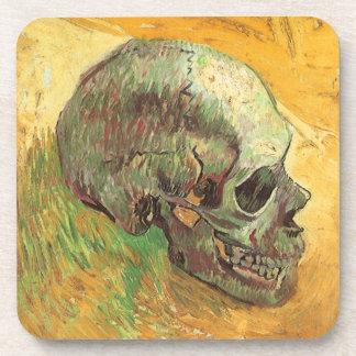 Skull, Vincent van Gogh, Vintage Impressionism Art Beverage Coasters