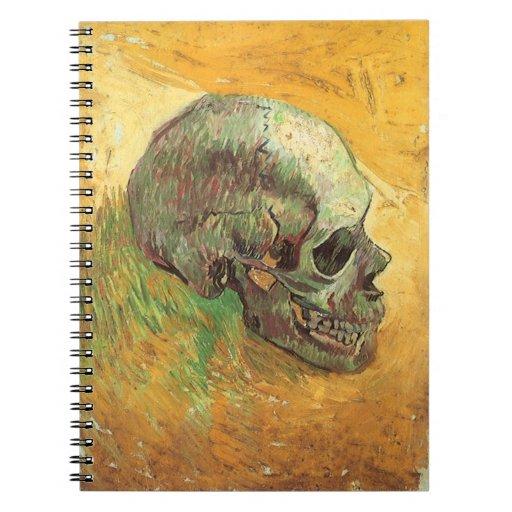 Skull, Vincent van Gogh, Vintage Impressionism Art Spiral Notebook