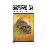 Skull, Vincent van Gogh, Vintage Impressionism Art Postage Stamps