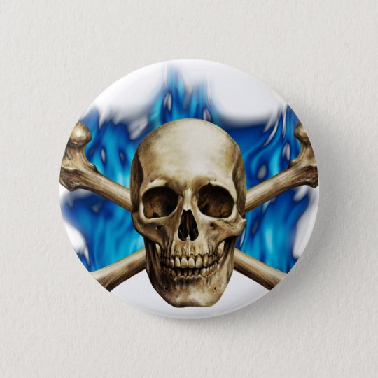 Skull w/ Blue Flame Button