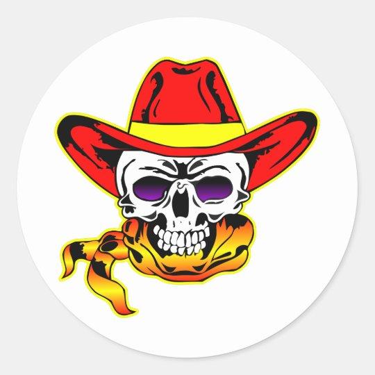 Skull w/ Cowboy Hat Classic Round Sticker
