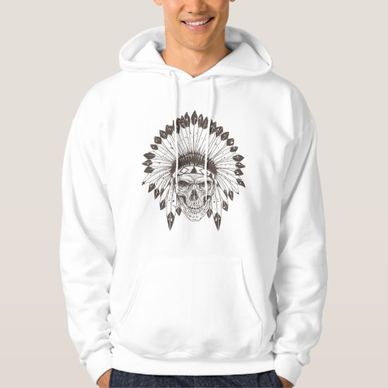 Skull w/ Native American Headress-Halloween Hoodie