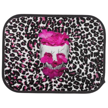Halloween Themed Skull w/Pink Flowers on Pink Leopard Print Car Mat