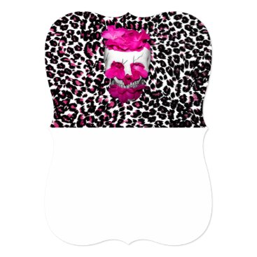 Halloween Themed Skull w/Pink Flowers on Pink Leopard Print Card