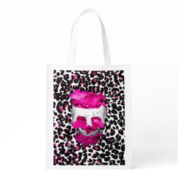 Halloween Themed Skull w/Pink Flowers on Pink Leopard Print Grocery Bag
