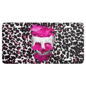 Halloween Themed Skull w/Pink Flowers on Pink Leopard Print License Plate