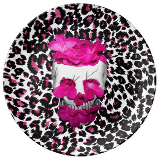 Skull w Pink Flowers on Pink Leopard Print Porcelain Plate