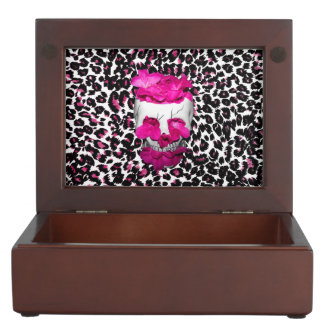 Skull w/Pink Flowers on Pink Leopard Print Memory Box