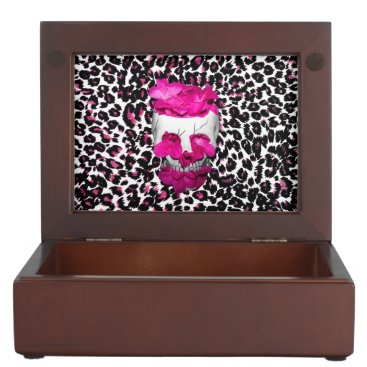 Halloween Themed Skull w/Pink Flowers on Pink Leopard Print Memory Box