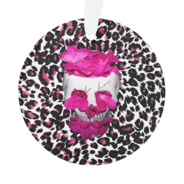 Halloween Themed Skull w/Pink Flowers on Pink Leopard Print Ornament