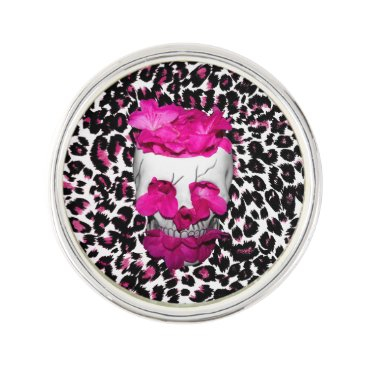 Halloween Themed Skull w/Pink Flowers on Pink Leopard Print Pin