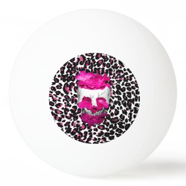 Halloween Themed Skull w/Pink Flowers on Pink Leopard Print Ping Pong Ball