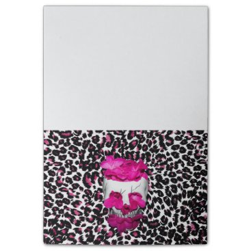 Halloween Themed Skull w/Pink Flowers on Pink Leopard Print Post-it Notes