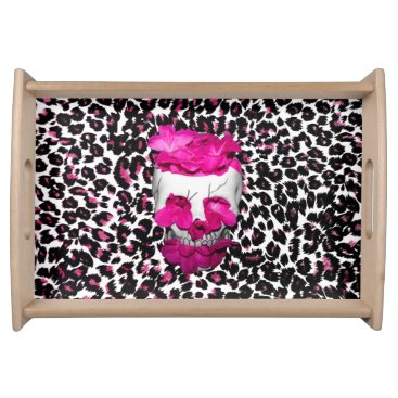 Halloween Themed Skull w/Pink Flowers on Pink Leopard Print Serving Tray