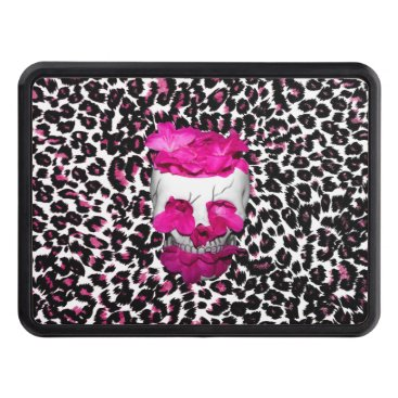 Halloween Themed Skull w/Pink Flowers on Pink Leopard Print Tow Hitch Cover