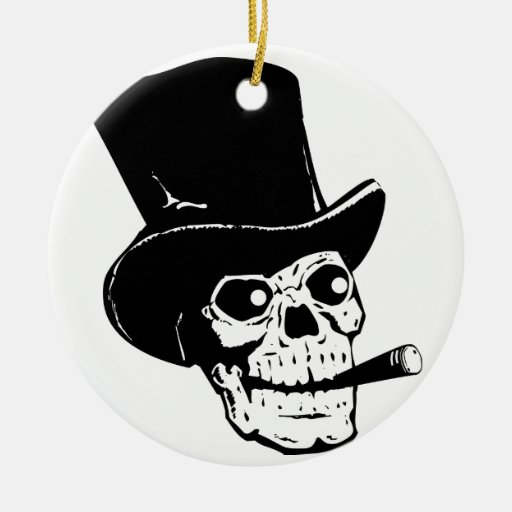 Skull w/ Top Hat Christmas Ornaments