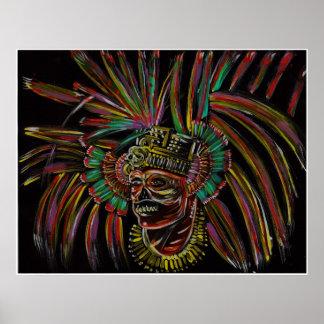 skull warrior painting poster